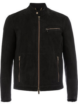 Ajmone collarless biker jacket - Black