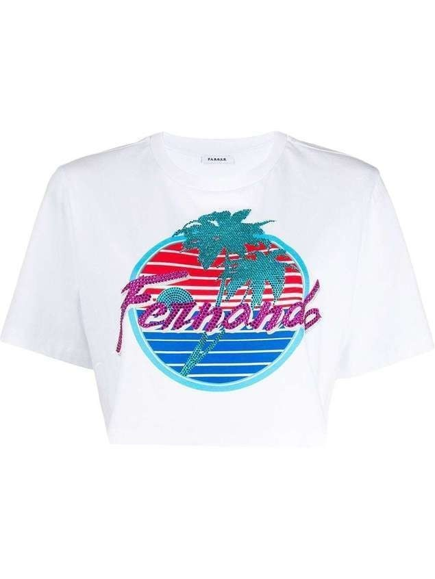 P.A.R.O.S.H. graphic print cropped cotton T-shirt - White