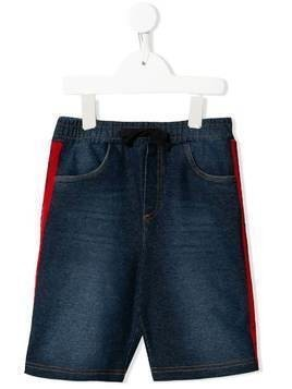 Dolce & Gabbana Kids striped trim denim shorts - Blue