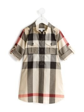 Burberry Kids Check Cotton Shirt Dress - Nude & Neutrals