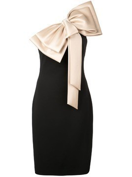 Badgley Mischka large bow-tie fitted dress - Black