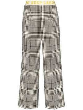 Mira Mikati contrast stripe check trousers - Black