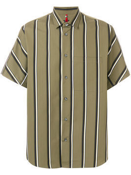 Oamc - striped shortsleeved shirt - Herren - Cotton - XS - Green