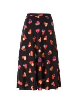 Boutique Moschino hearts print A-line skirt - Black