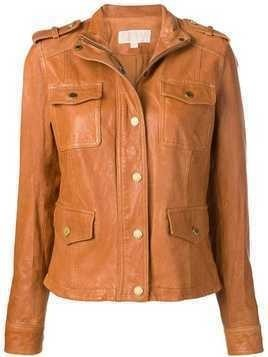 Michael Michael Kors buttoned leather jacket - Brown