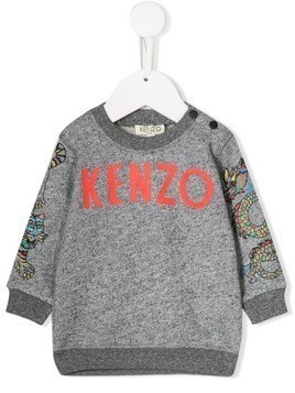 Kenzo Kids printed logo sweater - Grey