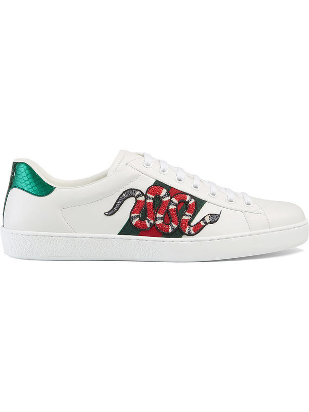 Gucci - Snake Ace embroidered leather sneaker - Herren - Leather/rubber - 8 - White