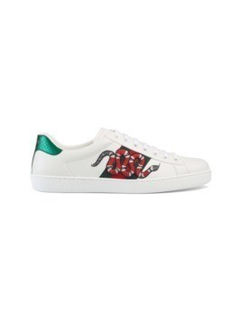 Gucci Snake Ace embroidered leather sneaker - White