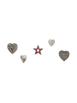 Saint Laurent set of five heart and star shaped pins - Grey