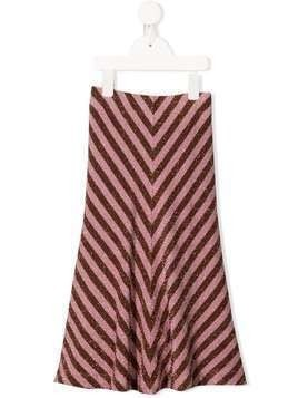 Caffe' D'orzo lamé striped midi skirt - PINK