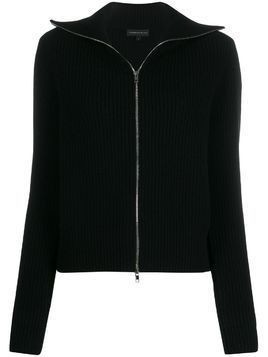 Cashmere In Love ribbed roll-neck Isla cardigan - Black