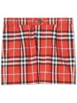 Burberry Kids Check Cotton Tailored Shorts - Orange
