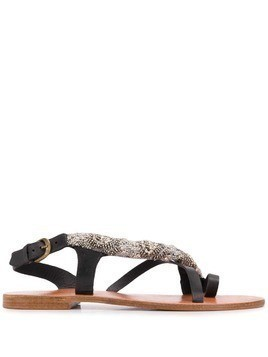 Antik Batik Bossa bead embroidery sandals - Black