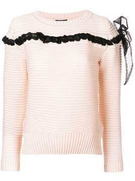 Cavalli Class bow detail sweater - Pink & Purple