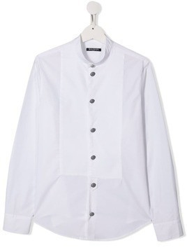 Balmain Kids TEEN band collar shirt - White