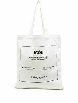 Maison Margiela graphic print shopping tote - White