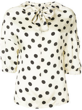 Hache polka dot bow tie blouse - Nude & Neutrals