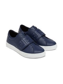 Fendi Kids logo strap sneakers - Blue