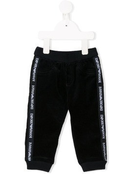 Emporio Armani Kids logo side panel trousers - Blue