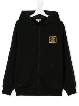 Kenzo Kids TEEN logo patch hoodie - Black