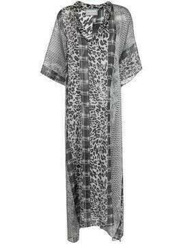 Pierre-Louis Mascia leopard-print silk maxi dress - Grey