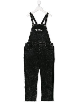 Andorine patch embellished denim dungarees - Black