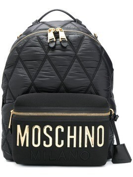 Moschino large quilted logo backpack - Black