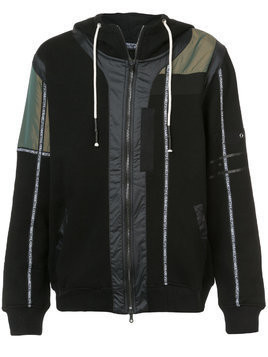 Mostly Heard Rarely Seen branded taping zip up hoodie - Black