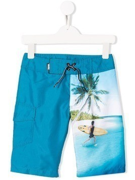 Molo Kids surfer print swim shorts - Blue
