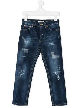 Dondup Kids ripped straight-leg jeans - Blue
