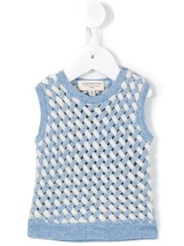 Cashmirino Lattice knit tank top - Blue