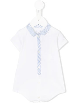 Burberry Kids Check Detail Cotton Bodysuit - White