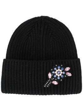 Markus Lupfer jewelled flower beanie - Black