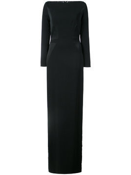Kimora Lee Simmons chevron embroidered back gown - Black