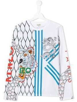 Kenzo Kids TEEN tiger dragon sweatshirt - White