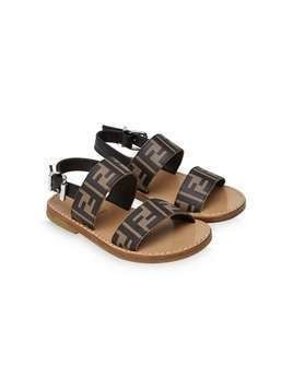 Fendi Kids FF embossed-logo sandals - Brown