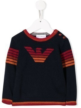 Emporio Armani Kids logo knit sweater - Blue