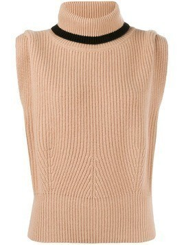 Cashmere In Love ribbed roll-neck Jade vest - NEUTRALS