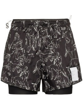 Satisfy 3 inch horse print shorts - Black
