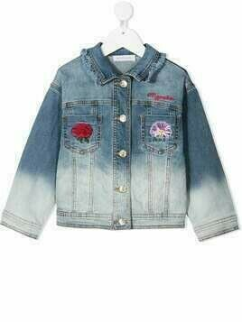 Monnalisa bleached denim jacket with embroidered detail - Blue