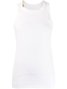 Sacai stretch fit jersey tank top - White
