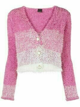 Pinko striped faux-fur cardigan
