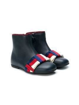 Gucci Kids tri-stripe ankle boots - Blue