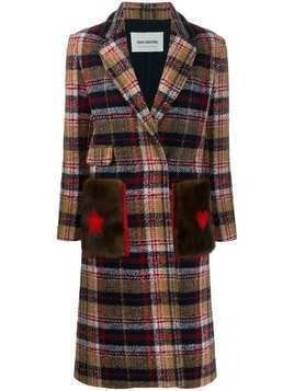 Ava Adore checked fitted coat - Blue