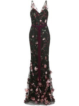 Marchesa Notte 3D floral embroidered flair gown - Black