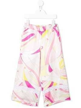 Emilio Pucci Junior Embroidered Abstract Floral Print Trousers - Pink