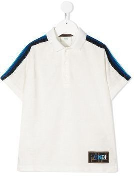 Fendi Kids side stripe polo shirt - White