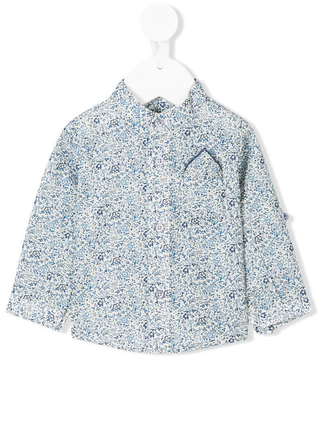 Cashmirino - Floral print shirt - Kinder - Cotton - 12 mth - Blue