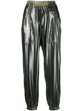 8pm cropped metallic track pants - SILVER