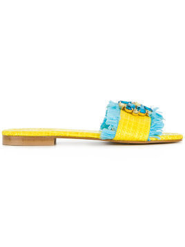 Emanuela Caruso floral embellished sandals - Yellow